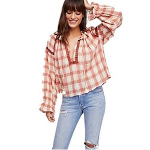 Free People Honey Grove Plaid Peasant Size Small